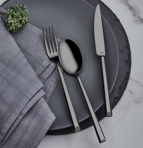 NARIN - Antares Anthracite 18pc / 42pc Cutlery Set