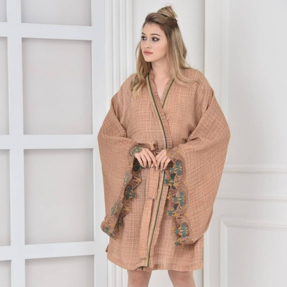 ECOCOTTON - Arles Beige Cotton Morning Gown