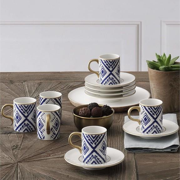 GURAL - .Atina Blue 6-Person Turkish Tea Set