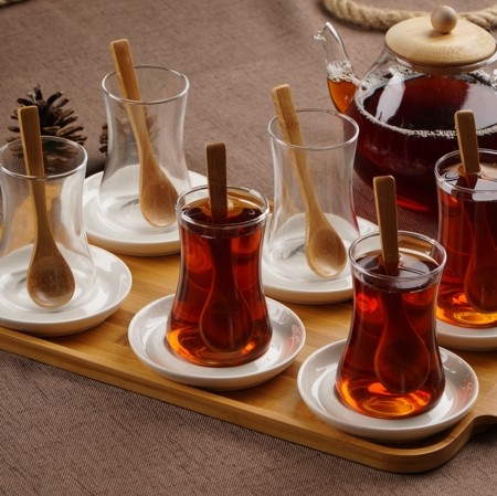 ACAR - .Azar 19pc Turkish Tea Set w/Tray