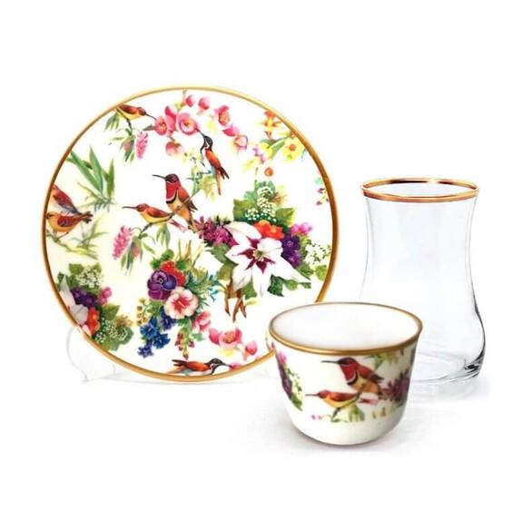 TOYGAR - Bird Garden 6-Person Turkish Tea + Arabic Coffee Set