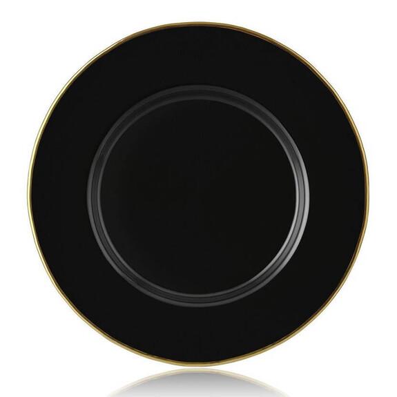 ZM DECOR - ZM Black Glass 6pc Underplate Set 33cm