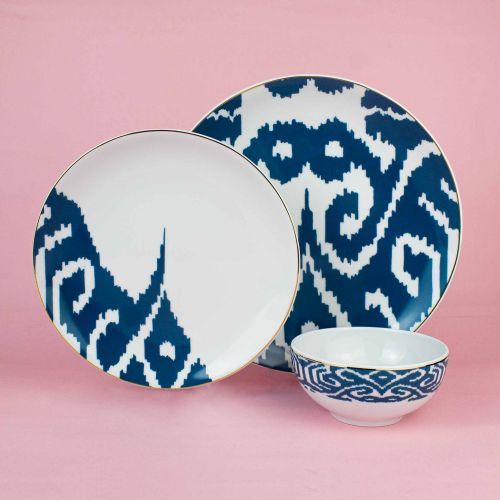 .Budai Blue 12pc Dinnerware Set
