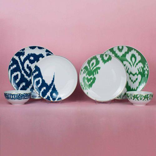 .Budai Green 12pc Dinnerware Set