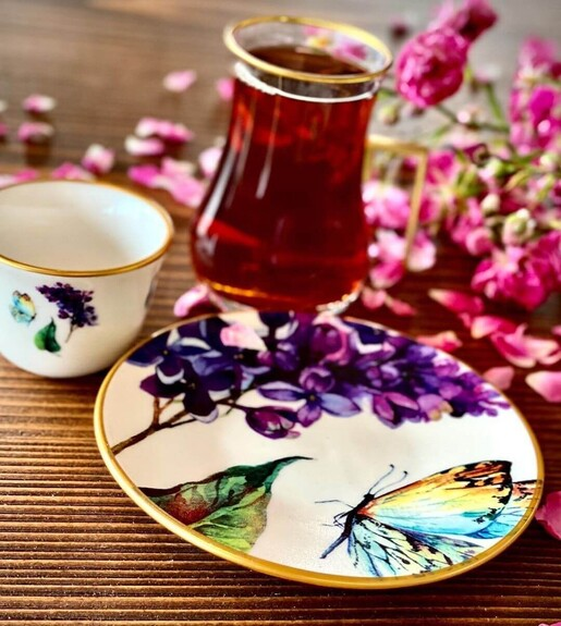 Butterfly 6-Person Turkish Tea + Arabic Coffee Set - Thumbnail