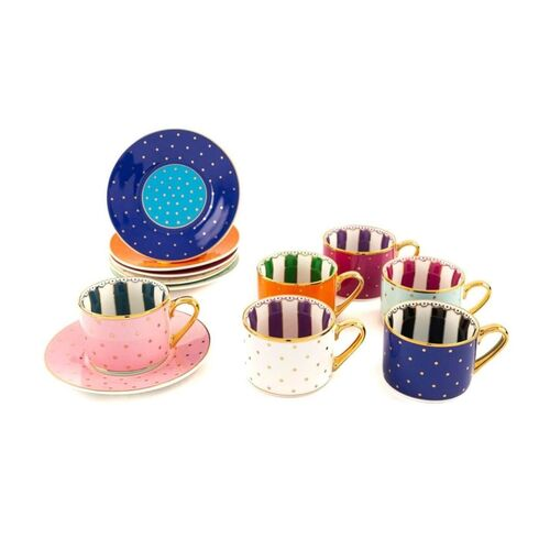 Cheerful 6-Person Turkish Coffee Set