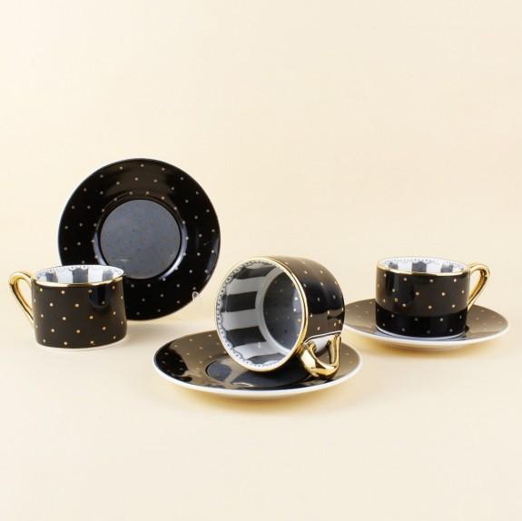KOSOVA - .Cheerful Black 6-Person Turkish Coffee Set