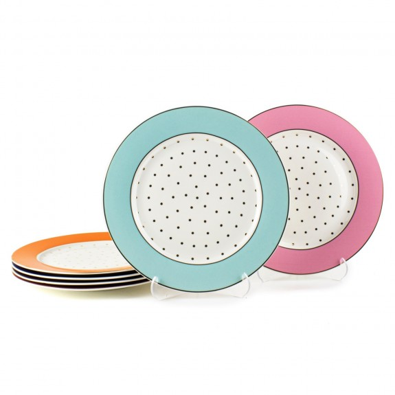 MIKASA MOOR - Cheerful New 6pc Dessert Plate Set 21cm