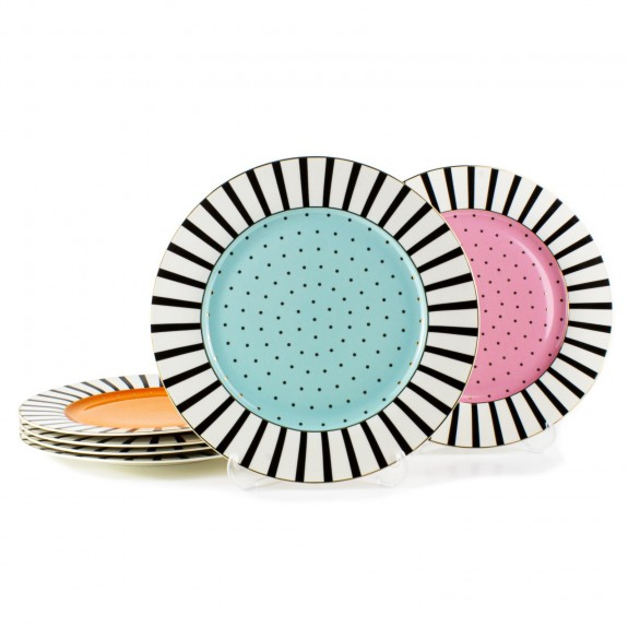 MIKASA MOOR - Cheerful New 6pc Dinner Plate Set 27cm