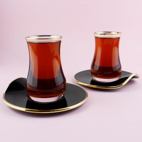 SCHAFER - .Curvy Black 6-Person Turkish Tea Set