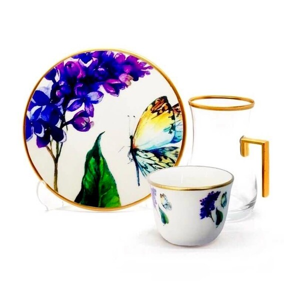 TOYGAR - Butterfly Handle 6-Person Turkish Tea + Arabic Coffee Set
