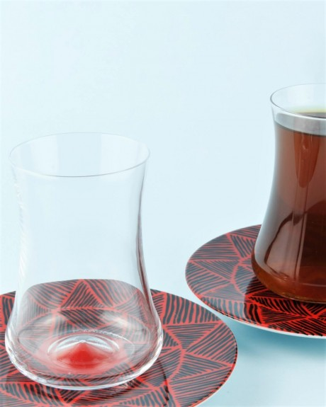 .Dervish Horus 6-Person Turkish Tea Set - Thumbnail