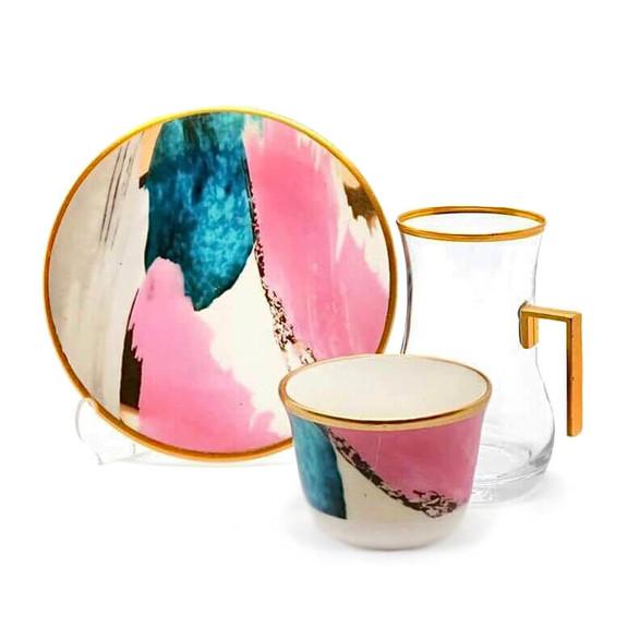 TOYGAR - Watercolor Handle 6-Person Turkish Tea + Arabic Coffee Set
