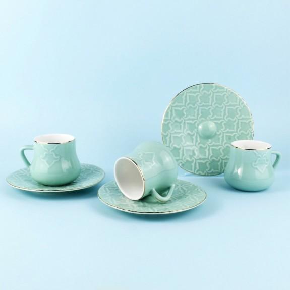 SCHAFER - .Elite Green 6-Person Turkish Coffee Set