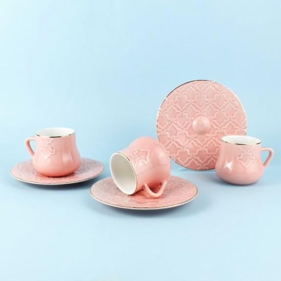 SCHAFER - .Elite Pink 6-Person Turkish Coffee Set
