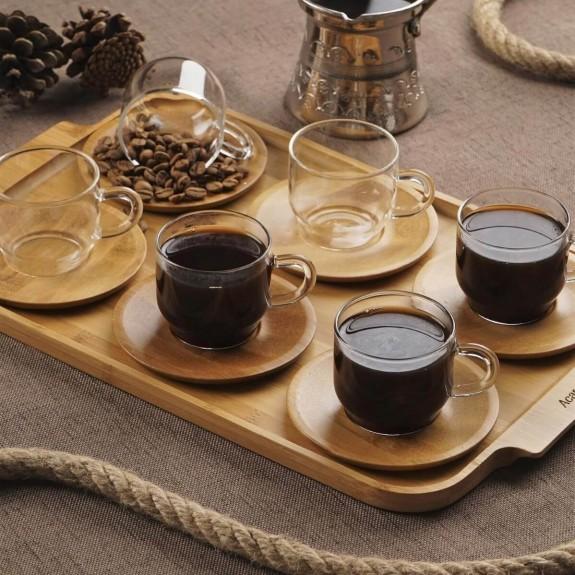 ACAR - .Enjoy 6-Person Turkish Coffee Set w/Tray