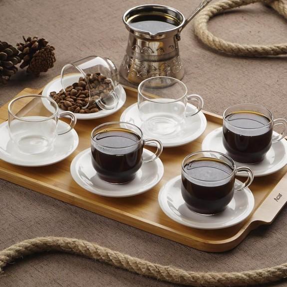 ACAR - .Enjoy Porcelain 6-Person Turkish Coffee Set w/Tray