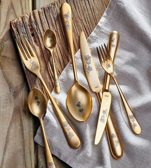 NARIN - Epsilon Matt Gold Flowery 18pc / 42pc Cutlery Set