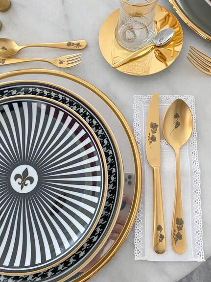 Epsilon Matt Gold Flowery 18pc / 42pc Cutlery Set - Thumbnail