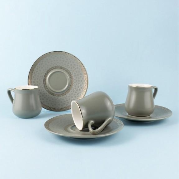 SCHAFER - .Getra Gray 6-Person Turkish Coffee Set