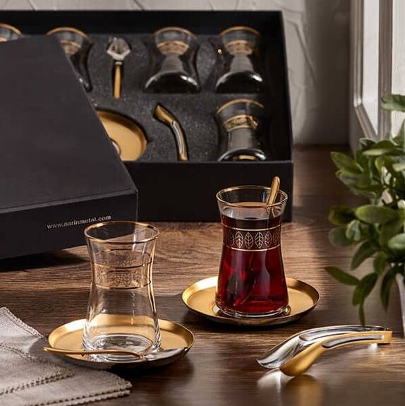 NARIN - 'Halley Autumn Matt Gold 19pc Turkish Tea Set