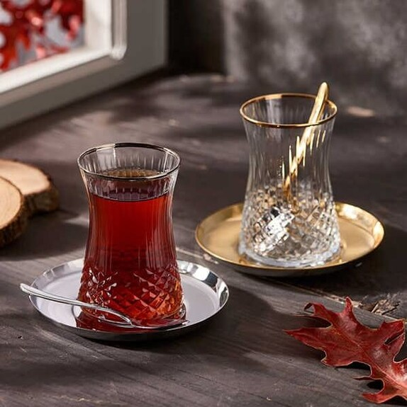 NARIN - ''Halley Crystal 19pc Turkish Tea Set