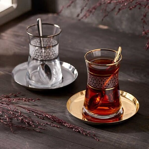 NARIN - ''Halley Design 19pc Turkish Tea Set