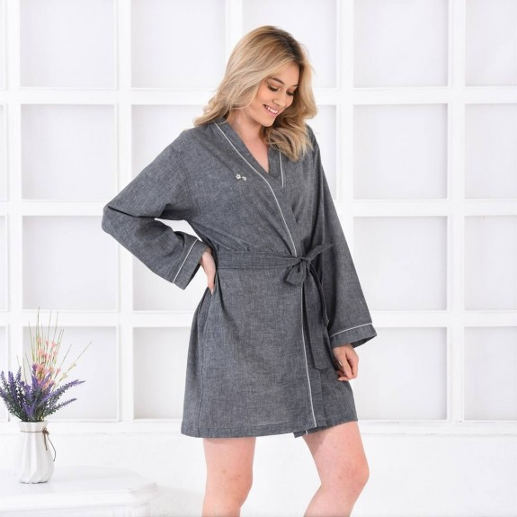 ECOCOTTON - Helen Anthracite Cotton-Linen Morning Gown