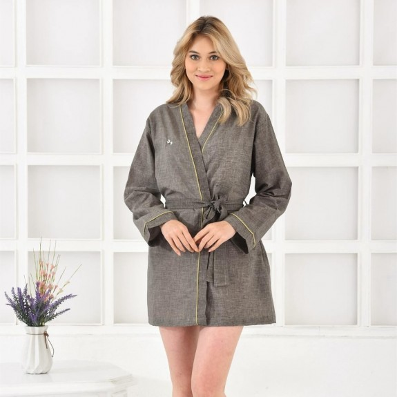 ECOCOTTON - Helen Green Cotton-Linen Morning Gown