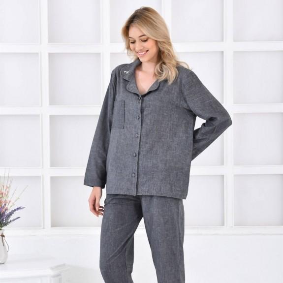 ECOCOTTON - Helen Long Anthracite Cotton-Linen Pajamas