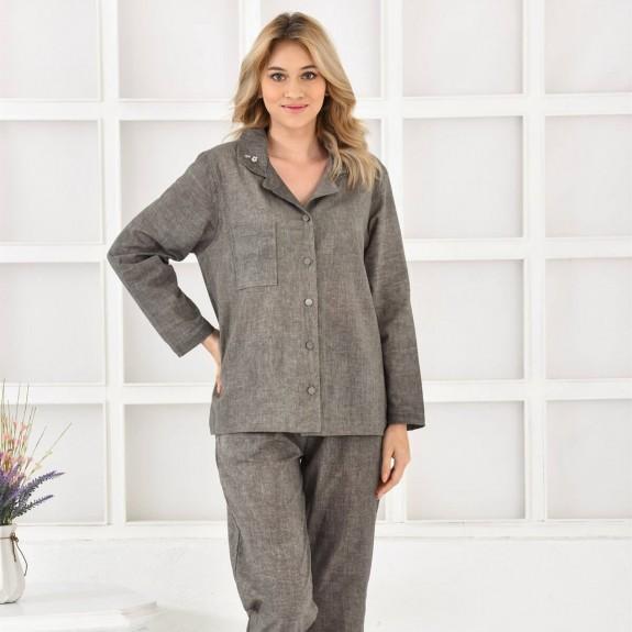 ECOCOTTON - Helen Long Green Cotton-Linen Pajamas