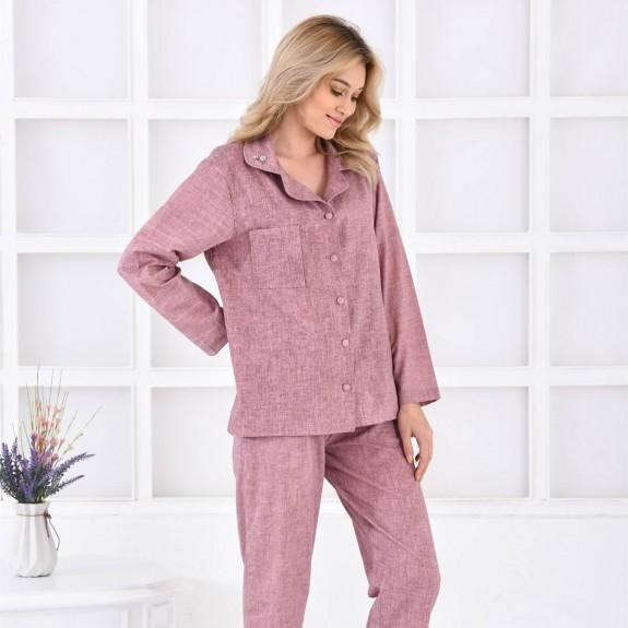 ECOCOTTON - Helen Long Purple Cotton-Linen Pajamas
