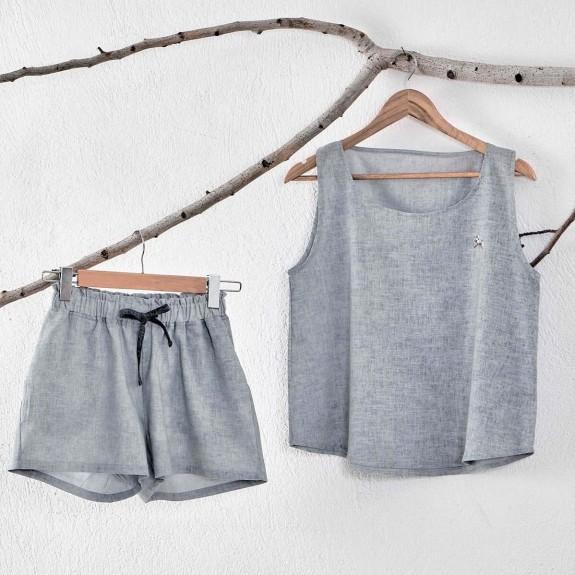 ECOCOTTON - Helen Short Anthracite Cotton-Linen Pajamas