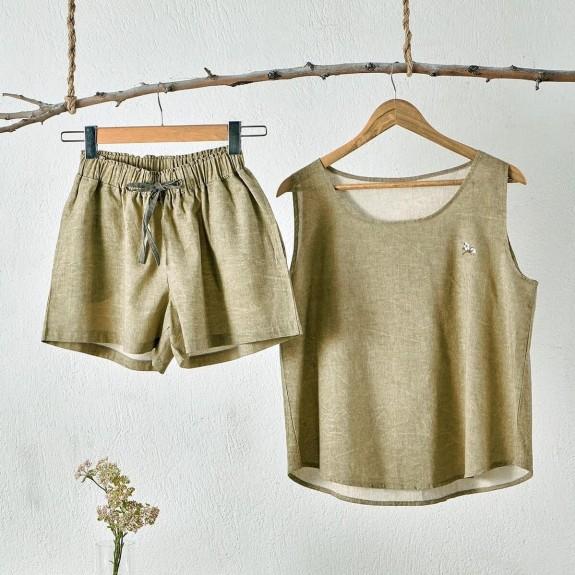 ECOCOTTON - Helen Short Green Cotton-Linen Pajamas