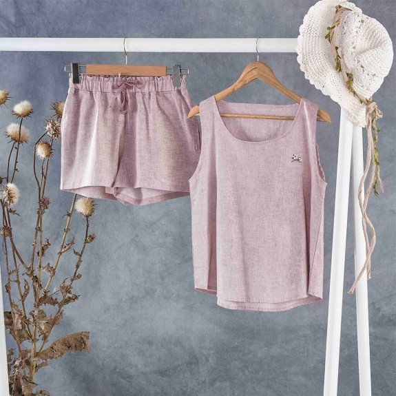 ECOCOTTON - Helen Short Purple Cotton-Linen Pajamas