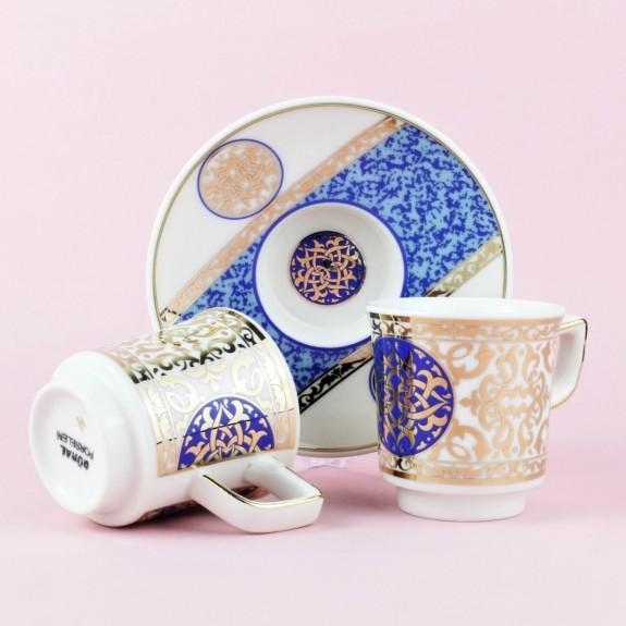 GURAL - .Huma Blue 6-Person Turkish Coffee Set