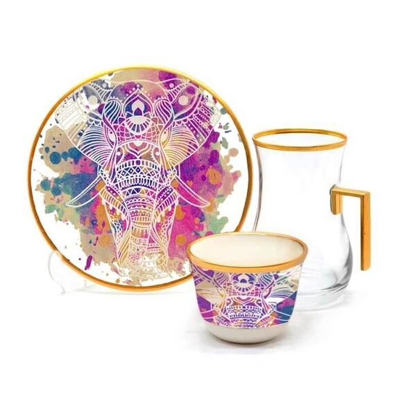TOYGAR - India Handle 6-Person Turkish Tea + Arabic Coffee Set
