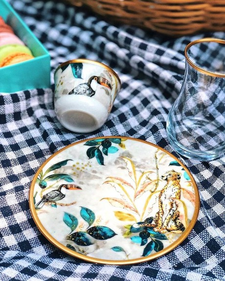 Jungle Handle 6-Person Turkish Tea + Arabic Coffee Set - Thumbnail