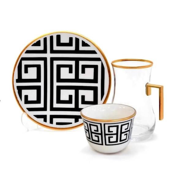 TOYGAR - Labyrinth Handle 6-Person Turkish Tea + Arabic Coffee Set