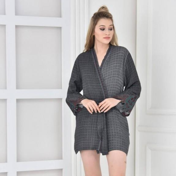 ECOCOTTON - Lavida Anthracite Cotton Morning Gown