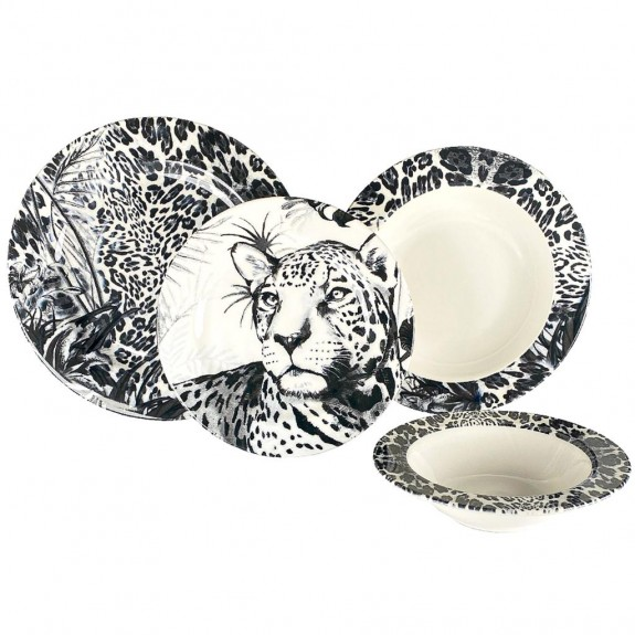 ZM DECOR - Leopard Black 24pc Dinnerware Set