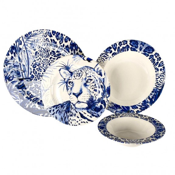 ZM DECOR - Leopard Blue 24pc Dinnerware Set