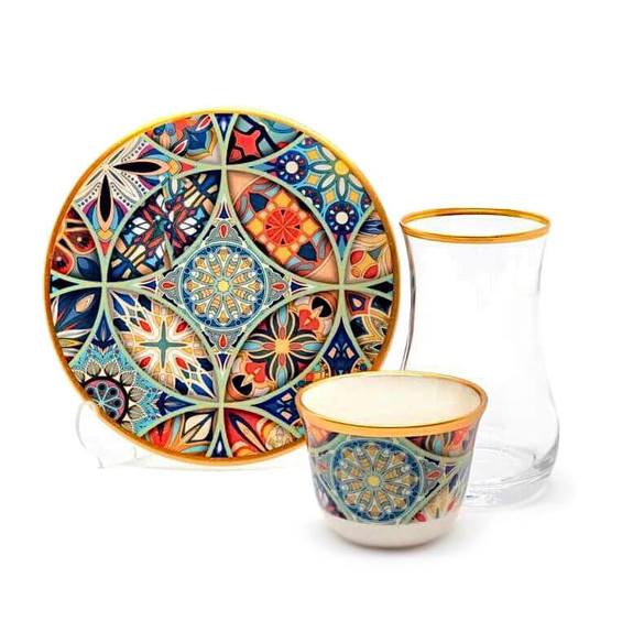 TOYGAR - Mandala 6-Person Turkish Tea + Arabic Coffee Set
