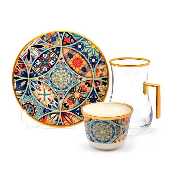 TOYGAR - Mandala Handle 6-Person Turkish Tea + Arabic Coffee Set