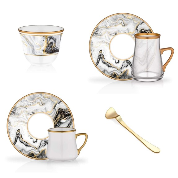 GLORE - 'Marble 36pc Full Collection Tea & Coffee Set