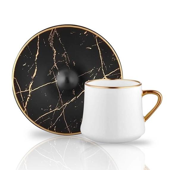 KOLEKSIYON - Marble Black 6-Person Tea/Nescafe Set