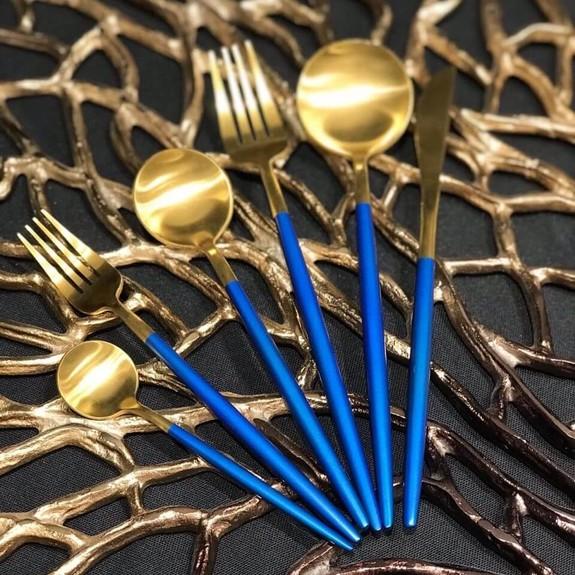 PINK&MORE - Matt Gold Blue 36-Piece Cutlery Set