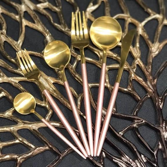 PINK&MORE - Matt Gold Pink 36-Piece Cutlery Set