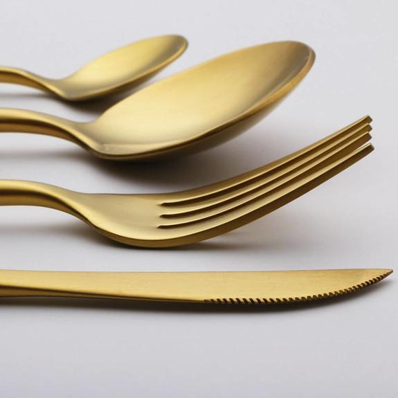 P&M Matt Gold White 36-Piece Cutlery Set - Thumbnail