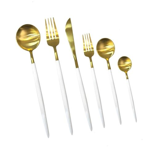 P&M Matt Gold White 36-Piece Cutlery Set